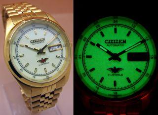 Citizen Gold - Tone Automatic Mechanische Automatik Uhr 21 Jewels Datum&tag Lumi Bild