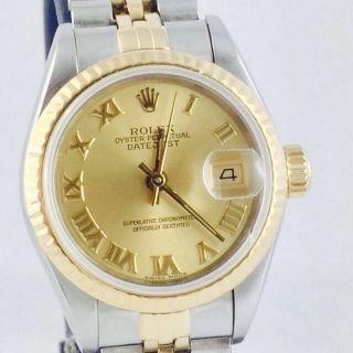 Rolex Lady Datejust Steel Gold Ref 69173 26mm Römisches Zifferblatt Damenuhr Bild
