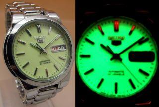 Seiko 5 Lumi Durchsichtig Automatik Uhr 7s26 - 02r0 21 Jewels Datum&taganzeige Bild