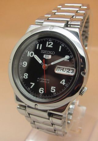 Seiko 5 Durchsichtig Automatik Uhr 7s26 - 01z0 21 Jewels Datum & Tag Bild