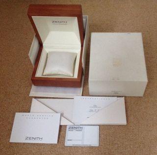 Zenith Elite Box Zertifikat (blanco) Mit Bedienungsanleitung Mit Allem Außer Uhr Bild