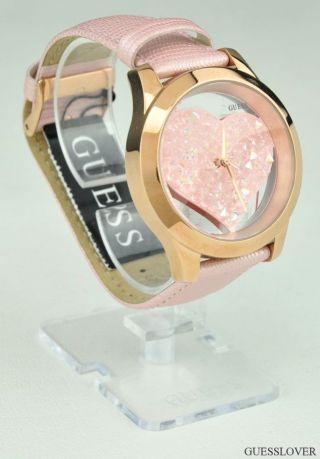 Uhr Guess Rosa Leder Damen Neuf Swarovski U0113l5 Deu Bild