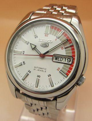Seiko 5 Racer Snkk25 Durchsichtig Automatik Uhr 7s26 - 01v0 21 Jewels Datum&tag Bild