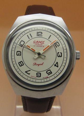 Camy Geneve Royal 17 Jewels Mechanische Uhr Datum & Tag Lumi Zeiger Bild
