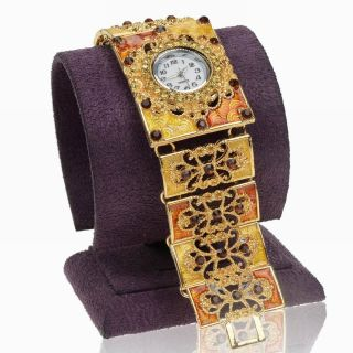 Emaille Kristall Blume Hollow Armband Quartz Armreif Mode Armbanduhren Watch Bild
