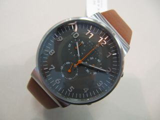 Skagen Chronograph Anchor Steel Skw6099 40mm Stahl Grau Leder Braun Slim Bild