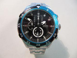 Festina Chronograh Sport Stahl Schwarz Blau Silber 46mm Wd100m F16603/3 Bild