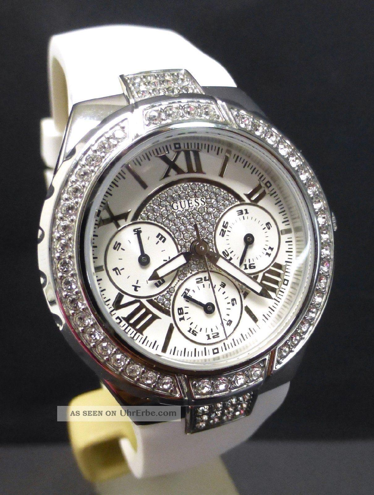 damenuhr guess chronograph viva ladies armbanduhr uhr silikonband damen chrono. Black Bedroom Furniture Sets. Home Design Ideas