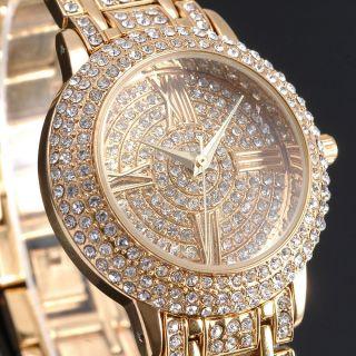 Mode 14k Golden Damenuhr Analog Quarz Strass Armreif Armband Uhr Metal Damen Uhr Bild