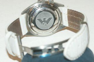 Orig.  Emporio Armani Hau Herrenuhr Unisex Armbanduhr Weiß Lederarmband Mega Uhr Bild