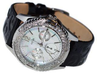 Guess Damen Uhr Silber Leder Armband Uhren Perlmuttzifffernblatt Strass G96022l Bild