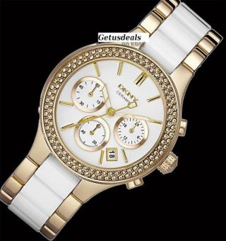 Dkny Damen - Armbanduhr Chronograph Quarz Keramik Ny8182 Uvp 375 Bild