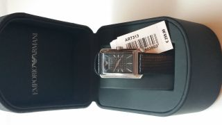 Emporio Armani Damenuhr Schwarz Leder Armbanduhr Ar7313 Bild