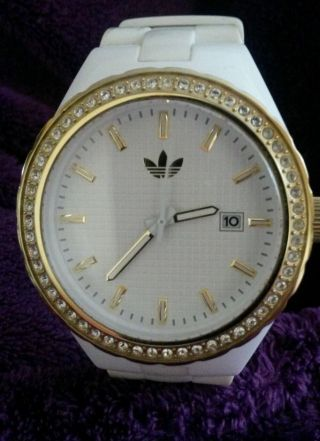 Adidas Damenuhr Adh 2127 Weiß/gold Nicht Mehr Im Handel Erhältlich Tool W. Bild