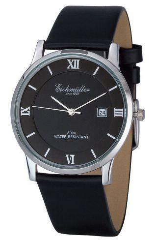 Sehr Flache EichmÜller Uhr Designuhr Herren Uhr Damenuhr Edelstahl Leder Black Bild