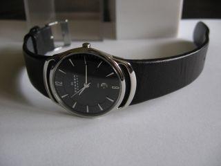 Skagen Damen Uhr 597sslb Slimline Leder Schwarz Ovp 150€ W Batterie Bild