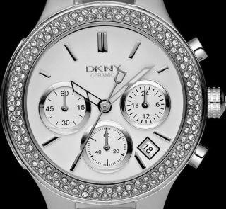 Ausverkauf Donna Karan Dkny Uhren Ny4985 Keramic Weiß Chrono Uhr Uvp 375€ Bild