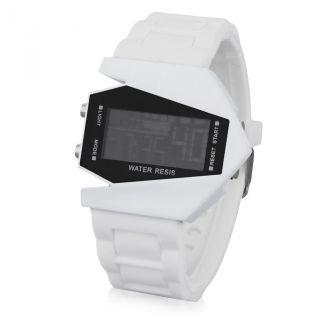 Lcd Silikon Unisex Digital Flieger Armband Uhr Weiß Led Datum Sport Uhr Alarm Bild
