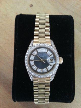Rolex Lady Date,  18k 750 Gelbgold,  President Band,  Besatz Brillianten Ref.  69278 Bild