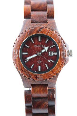 Bewell Holzuhr,  Damenuhr,  Datum,  Rotes Sandelholz,  A - Ware,  Armbanduhr,  Geschenk Bild