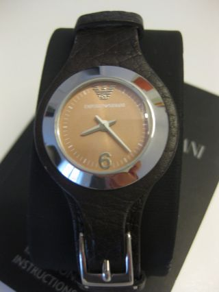 Emporio Armani Damen Armbanduhr Damenuhr Braun Ar5536 Leder Bild