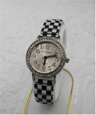 Rockabilly Style Flexi Damen Uhr Checkerboard Karo Schwarz/weiss Black/white Top Bild