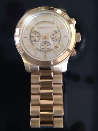 Armbanduhr Michael Kors Goldfarben Mk8077 Batterie,  Kaum Getragen Bild