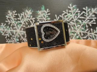 Damen Spangenuhr - Spange Uhr Herz Black Schwarz Heart Liebe Love - Bild