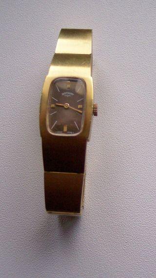 Rotary Armbanduhr Made In Swiss 10micron Vergoldet Handaufzug Bild