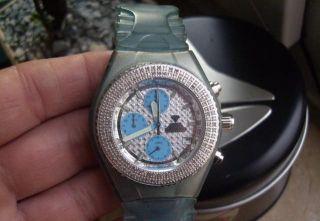 Technomarine Aqua Master Armbanduhr Blau Doppelte Echte Brillanten Auf Lunette Bild