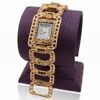 Gold Plated Rectangle Link Topaz Strass Armband Mode Link Armreif Armbanduhr Bild