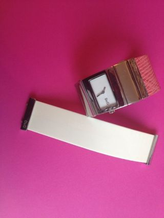 D&g Dolce&gabbana Damenuhr Clasp Leder Kautschuk Weiß Pink Wechselband Bild