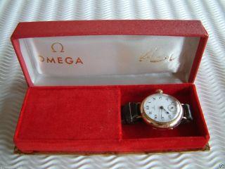 Sehr Schoene Originale Alte Omega Mit Emailleblatt - 9 K Gold - Von 1919,  Box Bild