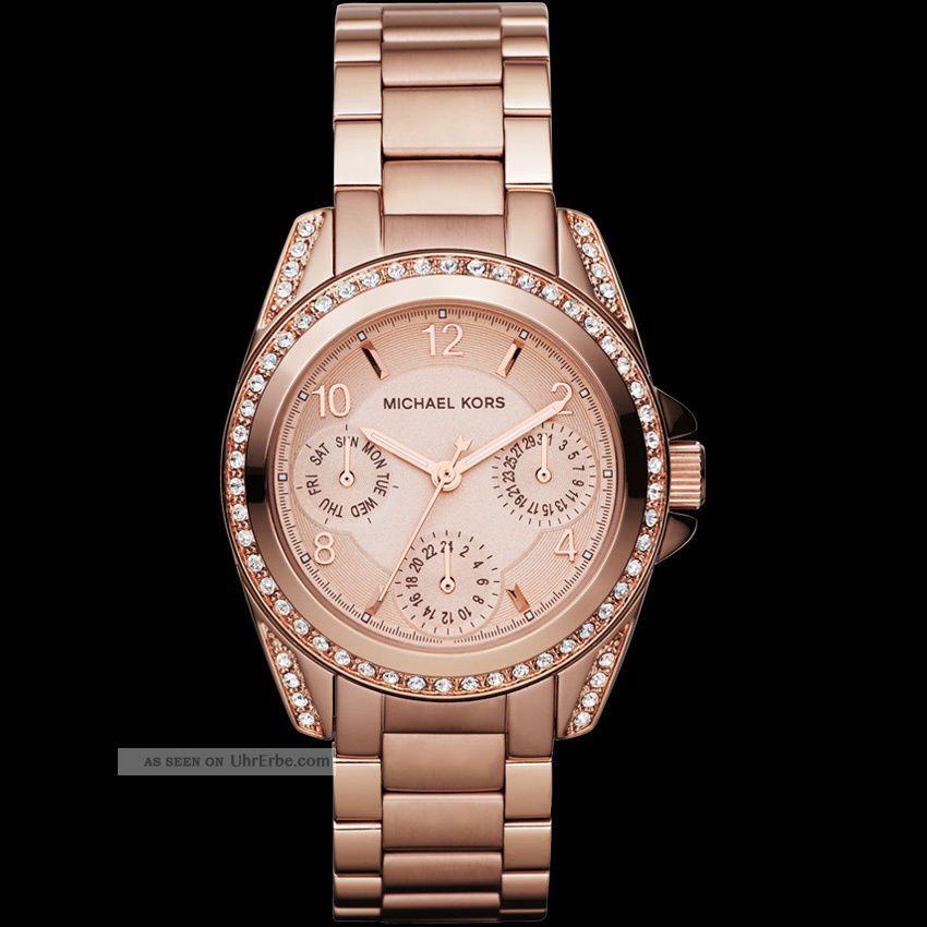 Michael Kors Mk5613 Armbanduhr Damen Rosé Gold Topzustand Armbanduhren Bild