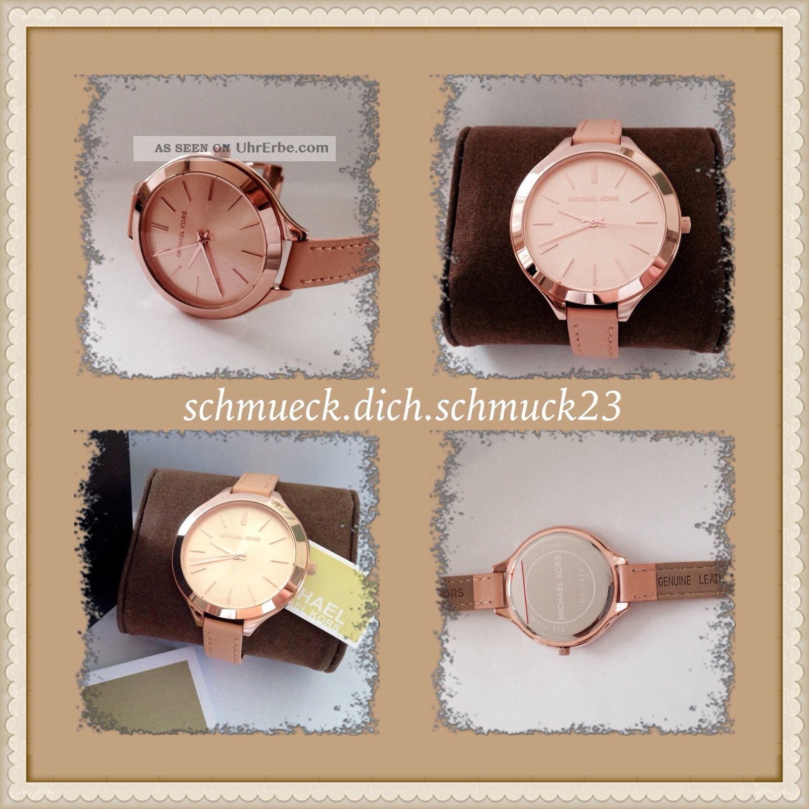 Michael Kors Mk2274 Logo Rose Gold Leder Beige Uhr Damenuhr Slim Runway Armbanduhren Bild