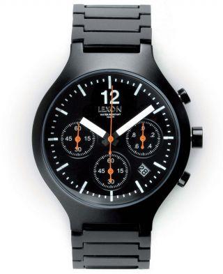 Lexon Lm 117nn Design Chronograph Discover Herrenuhr Edelstahl Uhr Watch Schwarz Bild