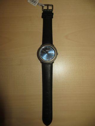 S.  Oliver Armbanduhr Uhr Schwarz Blau Lederarmband Wasserdicht Bild