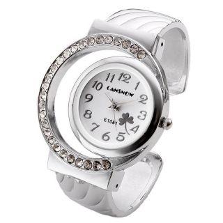 Damenuhr Spangenuhr Strass Armreif Uhr Quarzuhr Armkette Armbanduhr Silber Mode Bild