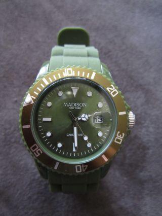 °•● Madison York,  Candy Time,  Uhr,  Schlamm Navy Grün,  Datum Mit Lupe, Bild