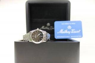 Schweizer Uhr,  Damenuhr Mathey - Tissot Elisa,  Silber/schwarz,  Saphirglas,  Zirkoni Bild