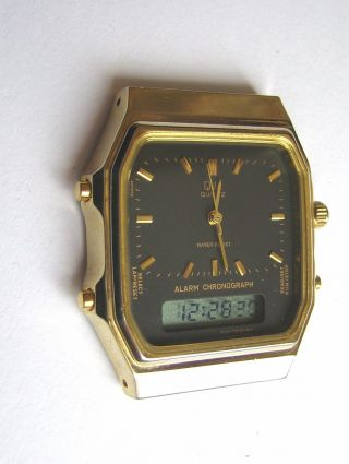 Q&q Alarm Chronograph Lcd Anadigi Vintage Watch Made In Japan Bild