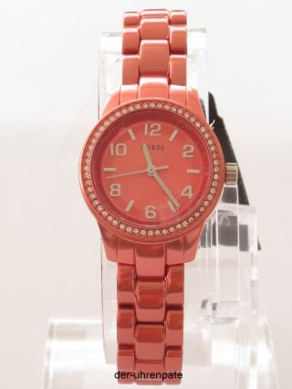 Guess Damenuhr / Damen Uhr Aluminium Orange Strass W80074l3 Bild