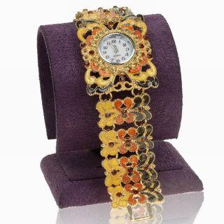 Mehrfarbig Vtg Damen Blume Herz Armband Quartz Mode Casual Armbanduhren Watch Bild