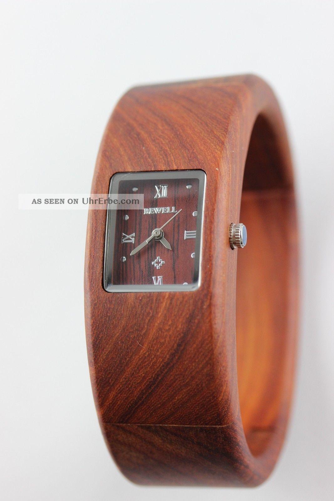 bewell holzuhr damenuhr spangenuhr rotes sandelholz. Black Bedroom Furniture Sets. Home Design Ideas