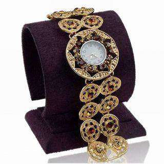 Vintage Rund Strass Topaz Circle Rund Armband Mode Quartz Armbanduhren Watch Bild