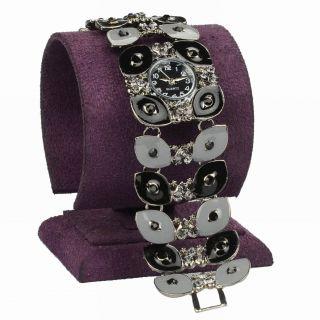 Schward Emaille Kristall Leaves Evil Eye Quartz Mode Armbanduhr Armreif Uhren Bild
