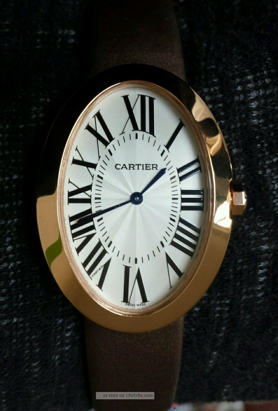 cartier baignoire ladies watch 18k rose gold coffee satin. Black Bedroom Furniture Sets. Home Design Ideas