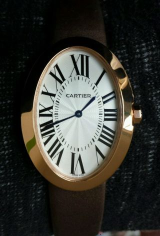 Cartier Baignoire Ladies Watch 18k Rose Gold Coffee Satin - Lederarmband Bild