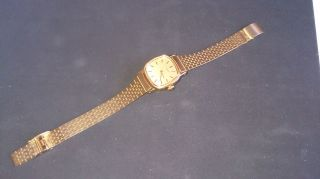 Alte Timex Damen Armbanduhr Metallarmband Goldfarben Bild