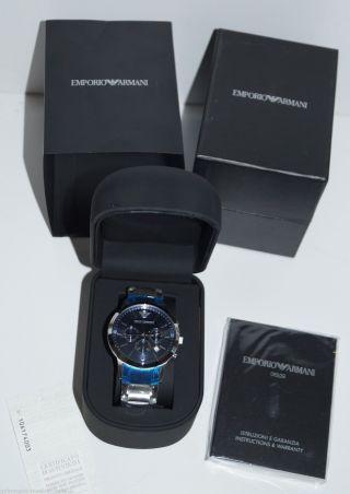 Emporio Armani Herren Armbanduhr Ar2448 Chronograph Klassik Ovp Blatt Blau Bild